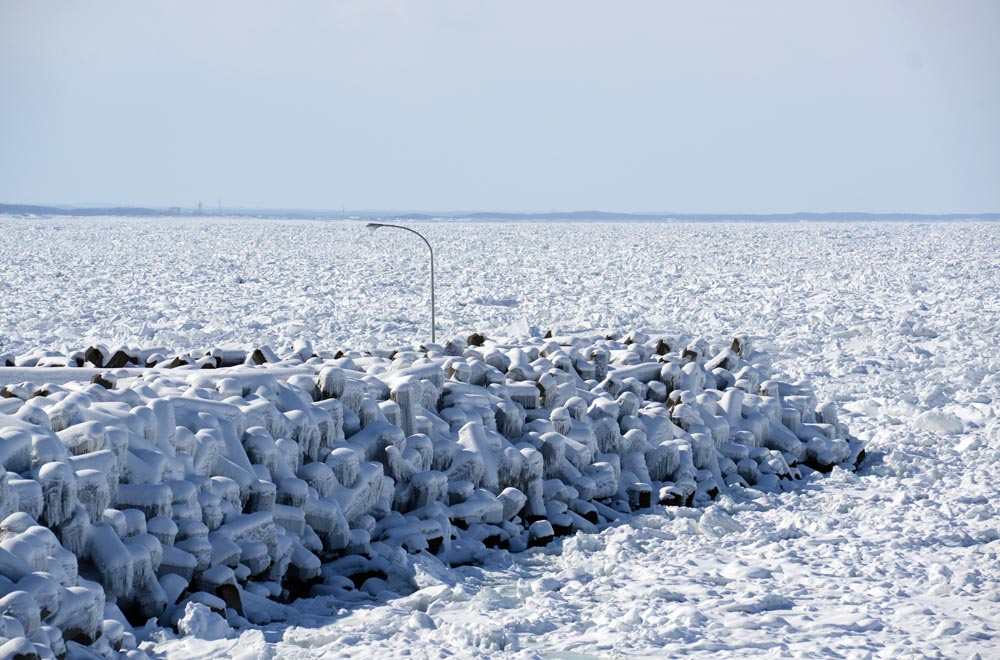 Drift ice in a port in Shiretoko, Hokkaido, Japan