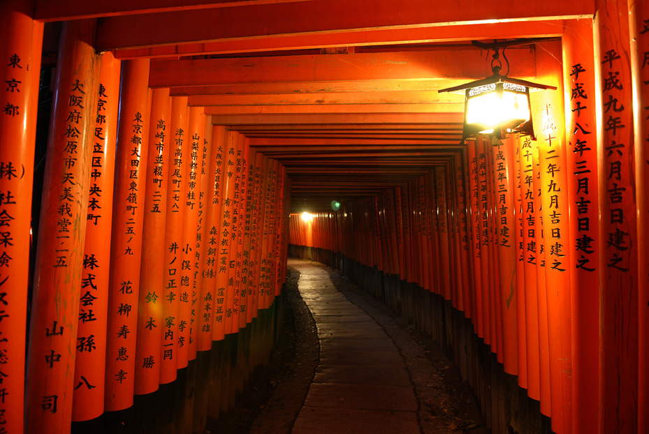Thousands of torii, entrance gate to Shinto shrine, in Fushimi Inari Shrine, Kyoto. ©Akashi Photos