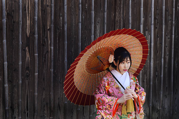 Bride wearing a beautiful kimono in Kyoto